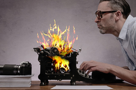 burning type writer