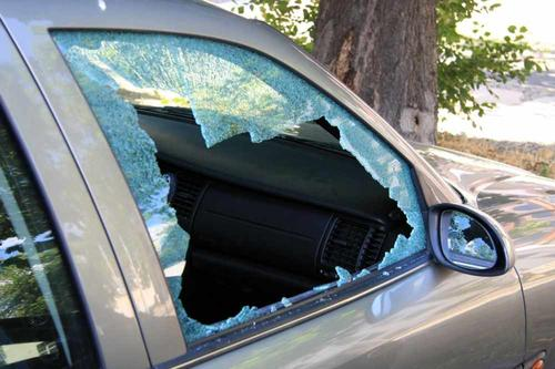 shattered window of car